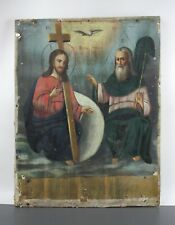 Antique Original Icon TRINITY Orthodox Russian Empire Oil Wood 310x240x18mm