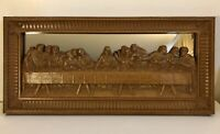 Vintage Homco Home Interiors Faux Wood Brown Last Supper Mirror Wall Picture