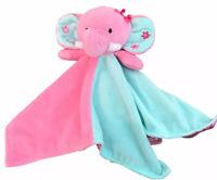 "Okie Dokie Plush Elephant Soft Security Blanket Lovey Lovie Pink Green 15"" HTF"