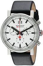 Mondaine Men's A690.30304.11SBB EVO Chronograph 40mm White Dial Black Leather