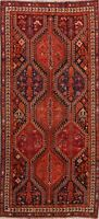 Antique Geometric Tribal Qashqai Area Rug Nomad-Weave Hand-Knotted Runner 4'x9'