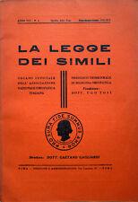 1940 LA LEGGE DEI SIMILI - OMEOPATIA - HOMÉOPATHIE - HOMEOPATHY - MEDICINA