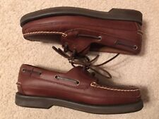 EUC! Mens West Marine Nautical Gear Tan Leather Boat Shoes Sz 8M