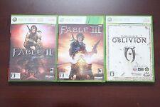 Microsoft Xbox 360 Elder of Scroll IV 4 Oblivion Fable 2 + 3 Japan 3 game lots