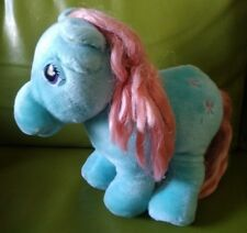 "1980s My Little Pony Bow Tie Teal Pink Hasbro 10"" Plush Vintage Stuffed Animal"