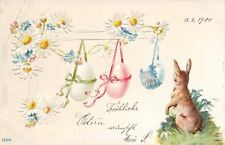 Easter~Brown Rabbit Watches Colored Pastel Eggs Swing on Daisy Ribbons~Emb~1900