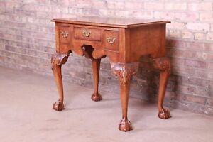 Baker Furniture Chippendale Burled Walnut Lowboy Dresser or Server