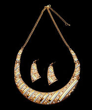 Sparkly gold diamante bib style necklace set party statement bling prom 0496