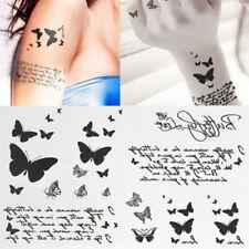 2 PCS Waterproof Women's Butterfly & Letter Transfer Temporary Tattoo Body Art