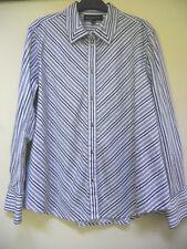 Jones NY Signature Grey Silver White Striped Button Down Blouse Shirt Sz XL EUC