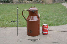 Vintage old enamel milk churn can milkchurn pot jug with lid water FREE POSTAGE