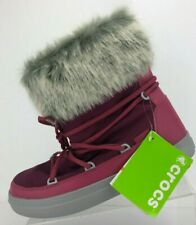 Crocs Winter Boots LodgePoint Lace Purple Shearling Fur Ankle Booties Womens 11