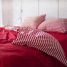 100% Natural Cotton Double-Sided Duvet Cover in Red and White Twin Full Queen