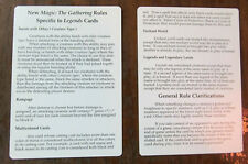 Legends Magic the Gathering Mtg Rules Card X2 from Legends booster pack 1994