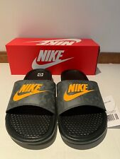 NEW Nike Mens Benassi JDI Slide Sandal Size 10 Black Lazer orange Iron Grey camo