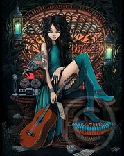 Bohemian Fairy Song Writer Musical Peacock Chair Aria CANVAS Print Signed Myka