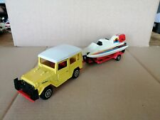 1/36 MAJORETTE TOYOTA LAND CRUISER WITH SPEED BOAT & TRAILER GOOD CONDITION