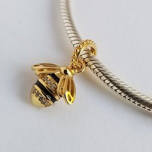 PANDORA Shine Gold Plated Queen Bee Pendant NWT CZ Charm 367075EN16 + BOX