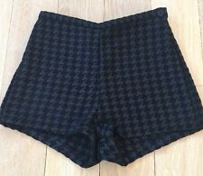 American Apparel High Waisted Shorts Houndstooth Black Size Medium NWT