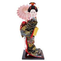Japanese Brocade Kimono Kabuki Doll Geisha Figure Figurine Statue Decor #6