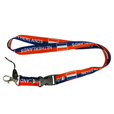 NETHERLANDS BLUE RED COUNTRY FLAG LANYARD KEYCHAIN PASSHOLDER ..NEW