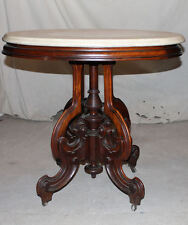 Antique Walnut Victorian Oval Marble top Table Small table