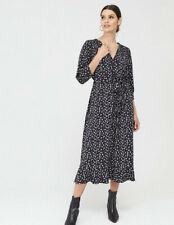 Oasis Sweetheart Ditsy Tiered Midi Wrap Dress - Blue/Multi RRP £60 Small 8 - 10