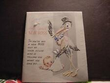 Vintage Congrats to New Parents Card w/Large STORK Making a Baby Delivery