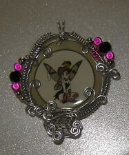 Silver Wire Wrapped Resin Cameo Tinkerbell Goth Punk EMO Fairy Pendant OOAK #G9