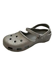 CROCS Glitter Silver Girls Slip On Shoes Round Toe Girls Youth Size J2