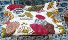 Kantha Quilt White Fruit Indian Cotton Handmade Bedspread Twin Size Gudari