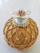 Heavy hinged gold tone pineapple trinket box magnet closure sparkly rhinestones
