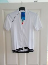 New Santini Mens White Zeit Lite Short Sleeve Zipped Cycling Jersey Size: Small