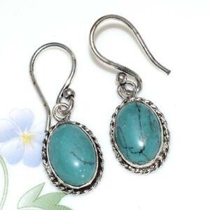 BLUE TURQUOISE Silver Plated Handmade Gemstones Earrings CCKK58