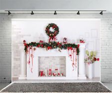 6x4ft Christmas Fireplace Backdrop Photography Newborn Photo Background