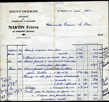 """LE VIGEANT (86) MENUISERIE / CHARPENTE ESCALIERS """"MARTIN Freres"""" en 1962"""