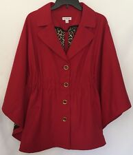 Joan Rivers Cape Size Large Red Classic Button Front Lapel Collar Elastic Waist