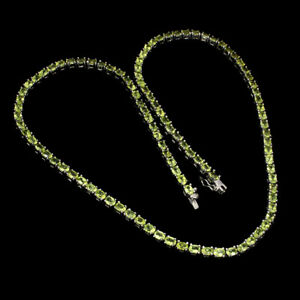 Unheated Oval Peridot 4x3mm 14K White Gold Plate 925 Sterling Silver Necklace 19