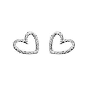Sterling Silver Glittering Sandblast Floating Love Heart Stud Earrings