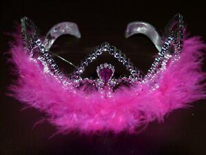 Damen und Kinder Diadem, Krone  silber pink mit Federn  Prinzessin Neu
