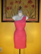 NWT  Arden B. One Shoulder Shirred Mesh Embellished Dress Size L