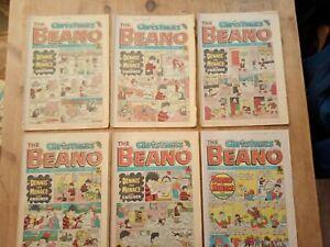 6  CHRISTMAS BEANO COMIC 1980 - 1986. VGC/ FAIR.