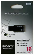 SONY USM16GM 16 GB BLACK USB 2.0 Micro Vault Tiny USB Flash Drive Thumb KEY 16G