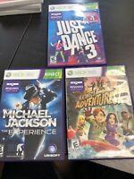 Xbox 360 Lot Kinect Micharl Jackson Just Dance 3 Adventures