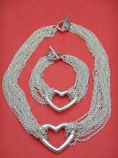 Sterling Silver multi Strand Mesh Open Heart Toggle Set Necklace & Bracelet