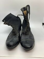 Antique Vtg 1900s Womens Victorian Leather Shoes Boots wool leather 5