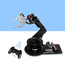 New Black 6 DOF Robot Arm Clamp Claw Kit Rotating Base Servo Controller Handle
