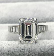 Engagement Ring 14K White Gold 4Ct Emerald Brilliant Moissanite Wedding