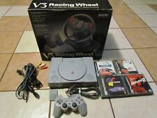 SONY PLAYSTATION 1 CONSOLE BUNDLE LOT CONTROLLER V3 RACING WHEEL 7501 4 GAMES
