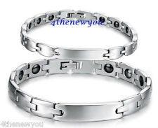 MENS MAGNETIC TITANIUM BRACELET SILVER BIO THERAPY ARTHRITIS HEALING PAIN RELIEF